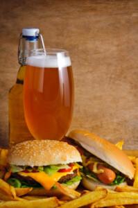 Hamburger French fries Hot dog and beer